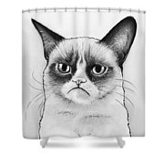 Grumpy Cat Portrait Shower Curtain