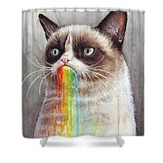 Grumpy Cat Tastes The Rainbow Shower Curtain