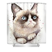 Grumpy Cat Watercolor Shower Curtain