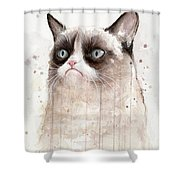 Grumpy Watercolor Cat Shower Curtain