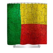 Grunge Benin Flag Shower Curtain