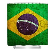 Grunge Brazil Flag Shower Curtain