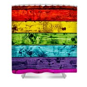 Grunge Colorful Wood Planks Background Shower Curtain