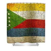 Grunge Comoros Flag Shower Curtain