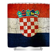 Grunge Croatia Flag Shower Curtain