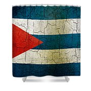 Grunge Cuba Flag Shower Curtain