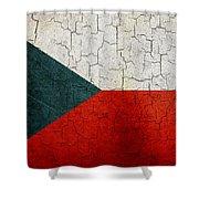 Grunge Czech Republic Flag Shower Curtain