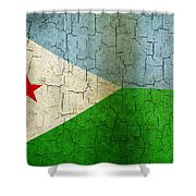 Grunge Djibouti Flag Shower Curtain