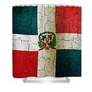 Grunge Dominican Republic Flag Shower Curtain