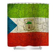 Grunge Equatorial Guinea Flag Shower Curtain