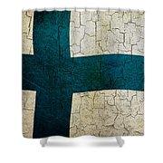 Grunge Finland Flag Shower Curtain
