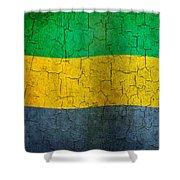 Grunge Gabon Flag Shower Curtain
