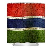 Grunge Gambia Flag Shower Curtain