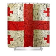 Grunge Georgia Flag Shower Curtain