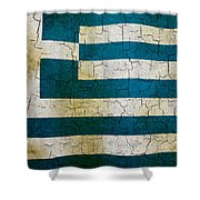 Grunge Greece Flag Shower Curtain