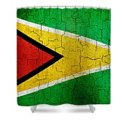 Grunge Guyana Flag Shower Curtain