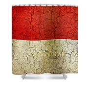 Grunge Indonesia Flag Shower Curtain