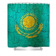 Grunge Kazakhstan Flag Shower Curtain