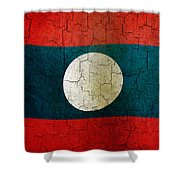 Grunge Laos Flag Shower Curtain