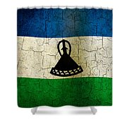 Grunge Lesotho Flag Shower Curtain