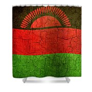 Grunge Malawi Flag Shower Curtain
