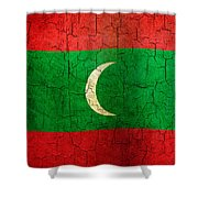 Grunge Maldives Flag Shower Curtain