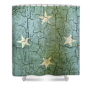 Grunge Micronesia Flag Shower Curtain