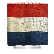 Grunge Netherlands Flag Shower Curtain
