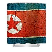 Grunge North Korea Flag Shower Curtain