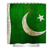 Grunge Pakistan Flag Shower Curtain