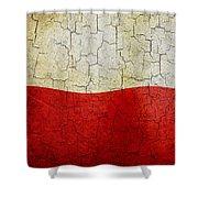 Grunge Poland Flag Shower Curtain