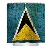 Grunge Saint Lucia Flag Shower Curtain