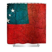 Grunge Samoa Flag Shower Curtain