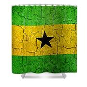 Grunge Sao Tome And Principe Flag Shower Curtain