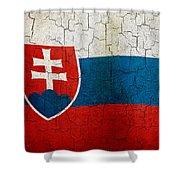 Grunge Slovakia Flag Shower Curtain