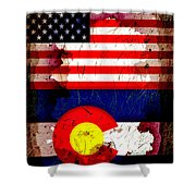 Grunge Style Usa And Colorado Flags Shower Curtain