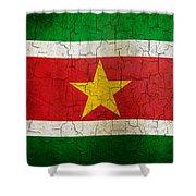 Grunge Suriname Flag Shower Curtain