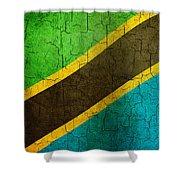 Grunge Tanzania Flag Shower Curtain