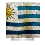 Grunge Uruguay Flag Shower Curtain