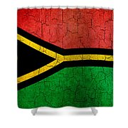 Grunge Vanuatu Flag Shower Curtain