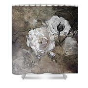 Grunge White Rose Shower Curtain