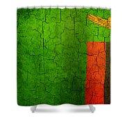 Grunge Zambia Flag Shower Curtain