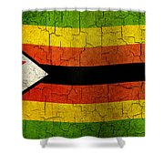 Grunge Zimbabwe Flag Shower Curtain