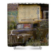 Grungy Vintage Ford Panel Truck Shower Curtain