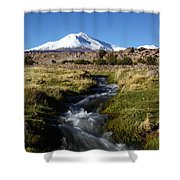 Guallatiri Volcano And Mountain Stream Shower Curtain