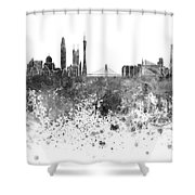Guangzhou Skyline In Black Watercolor On White Background Shower Curtain