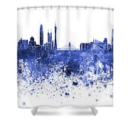 Guangzhou Skyline In Blue Watercolor On White Background Shower Curtain