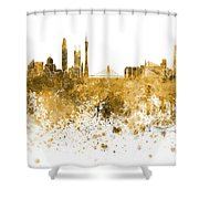 Guangzhou Skyline In Orange Watercolor On White Background Shower Curtain