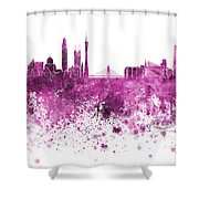 Guangzhou Skyline In Pink Watercolor On White Background Shower Curtain