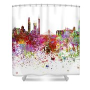 Guangzhou Skyline In Watercolor On White Background Shower Curtain